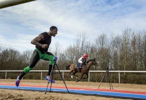 Pics - Adrian Sherratt - 07976 237651 Re. SunBets Promotion. The sprinter Dwain Chambers races jockey Adrian Dean riding Heat Storm at Wolverhampton Racecourse (7 Mar 2017).